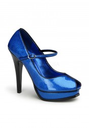 Pinup Couture PLEASURE-02G, 5 1/4 Inch Heel Peep Toe Mary Jane Pump