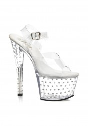 Pleaser STARDUST-709, 7 Inch Stiletto Heel Rhinestone Studded Clear Platform Sandal With Ankle Strap