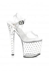 Pleaser STARDUST-758, 7 1/2 Inch Stiletto Heel Rhinestone Studded Clear Platform Sandal With Ankle Strap