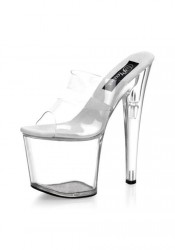 Pleaser TABOO-702, 7 1/2 Inch Stiletto Heel Double Strap Platform Slide