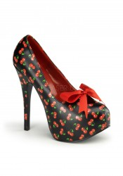 Pinup Couture TEEZE-12-16, 5 3/4 Inch Heel Pump With Satin Bow